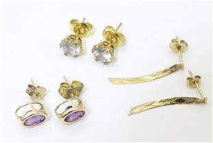 Three pairs 9ct gold earrings, to include a pair set
