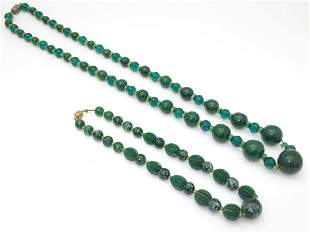 Two vintage bead necklaces, both with various green