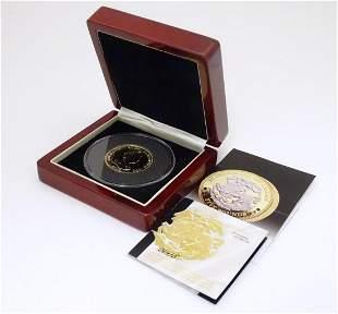 Coin: A Tristan de Cunha 2008 gold and rhodium plated