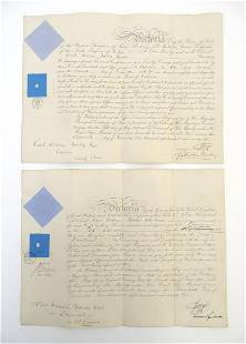 Militaria : two 19thC British Army Officer's commission