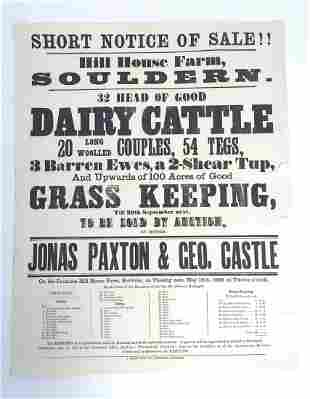A Victorian auction advertising poster, Hill House