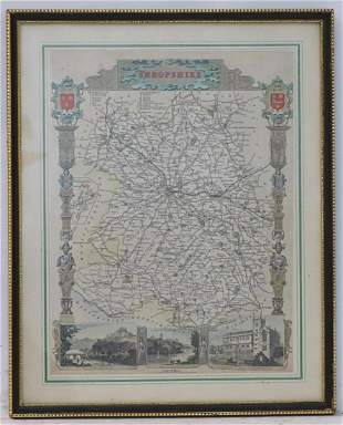 Map: A 19thC hand coloured engraved map of Shropshire