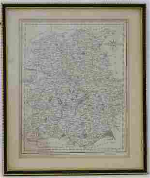 Map: An 18thC hand coloured engraved map of Shropshire,