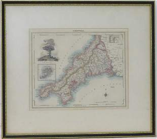 Map: A 19thC hand coloured engraved map of Cornwall