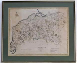 Map: A 19thC hand coloured engraved map of Cumberland,