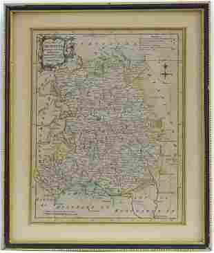 Map: An 18thC hand coloured engraved map of Shropshire