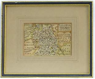 Map: An 18thC hand coloured engraved map of Shrewsbury,