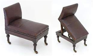 A late 19thC mahogany adjustable gout stool with