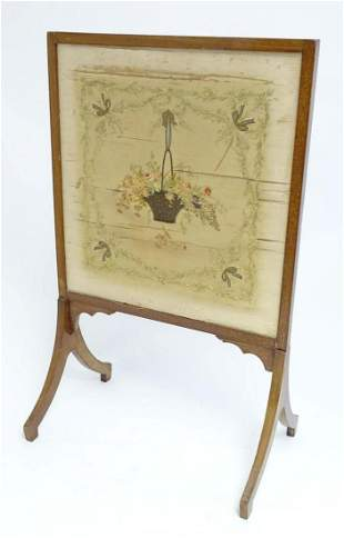 An early 19thC silk needlework with fine floral