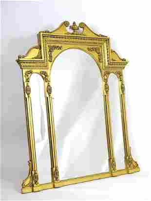 A mid 20thC giltwood mirror with a rosette carved swans