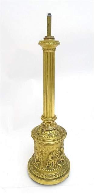 A 19thC Elkington gilt metal table lamp column, the