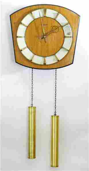 """A retro Kieninger teak wall clock with two weights. 12"""""""