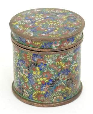 An Oriental pot and cover of cylindrical form with
