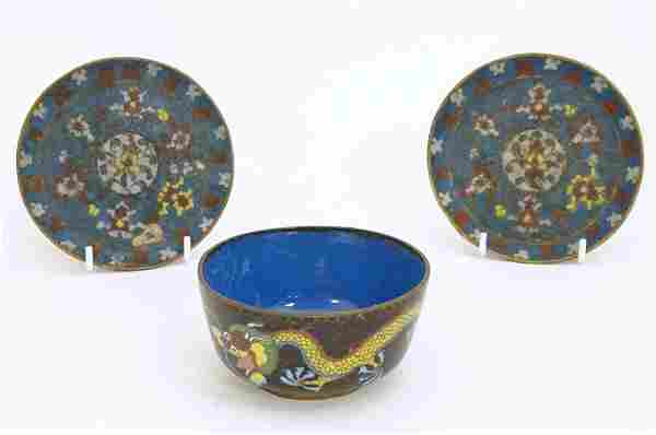 Three Chinese cloisonne items comprising a bowl