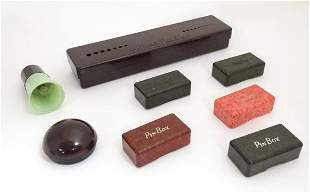 A quantity of Bakelite containers to include a knitting