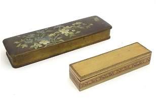 A Victorian papier mache glove box of rectangular form