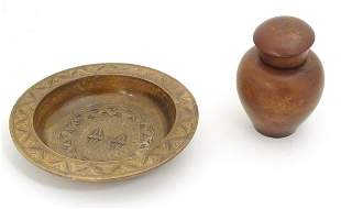 Two 20thC treen items comprising a jar and cover with