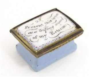 A 19thC Bilston enamel snuff / pill box, the lid