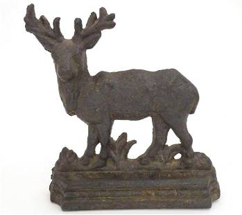 A 20thC cast doorstop / door porter modelled as a stag.