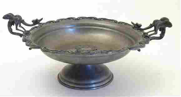 A 20thC Continental pewter pedestal bowl with a lobed