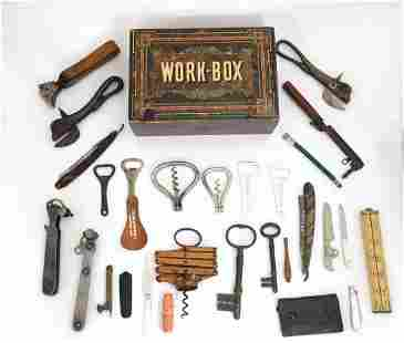 An early 20thC workbox, containing an assortment of