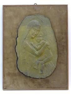 A 20thC Italian gilded bronze plaque by Giuseppe