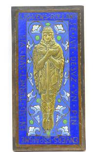 An Arts & Crafts enamel plaque with medieval script and