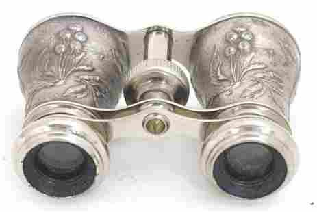 Late 19thC French opera glasses with cast decoration