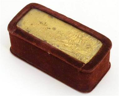 A Victorian trinket box with velvet covering, the top