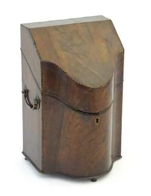 A 19thC mahogany knife box converted into a stationery