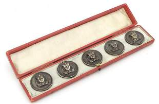 A set of six early 20thC buttons / studs with Egyptian