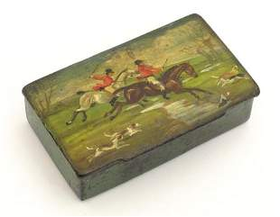 A Victorian papier mache table snuff box with hand