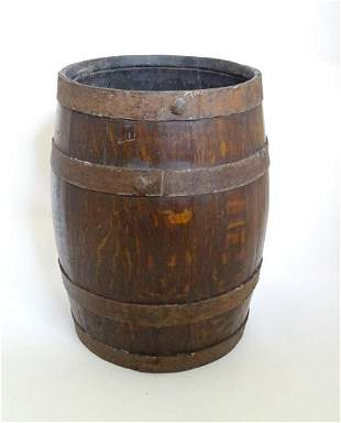A 20thC coopered oak basket converted from a pin ale