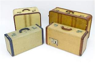 Four 20thC suitcases, comprising 2 shoe cases by Victor