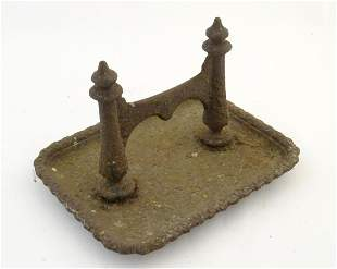 """A 19thC cast iron boot scraper and tray, 13 3/4"""" wide"""