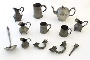 A quantity of 19thC and later pewter table wares,