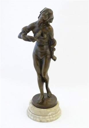 A Hungarian Art Deco bronze sculpture depicting