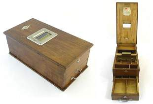 A Victorian wooden shop till / cash register with
