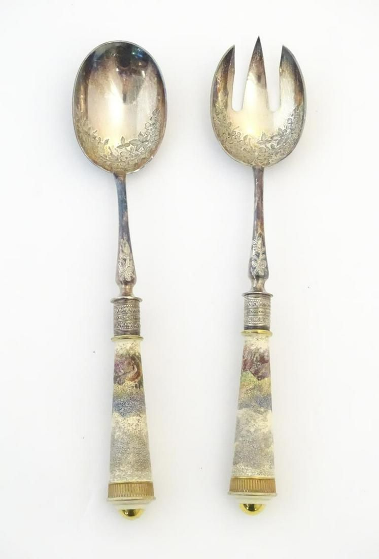 A pair of late Victorian silver plated salad servers by
