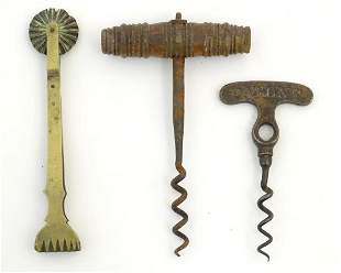 A Victorian corkscrew, the handle stamped 'London' and