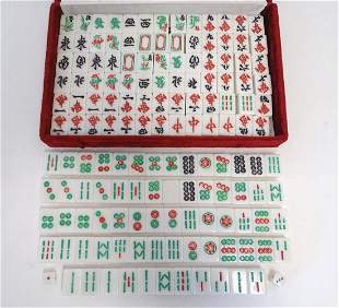 Toys: Late 20thC Mahjong tiles, cased. Case approx. 13