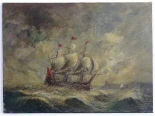 Early 20th century, Marine School, Oil on canvas, A