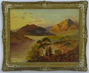Monogrammed WTS, Oil on board, A Scottish landscape