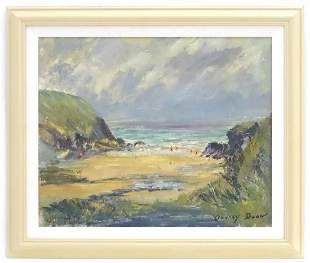 Audrey Dean, 20th century, Oil on board, Cornish Cove,