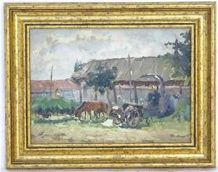 20th century, Ukrainian School, Oil on paper, A rural