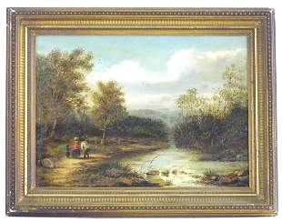 19th century, English School, Oil on canvas, A wooded
