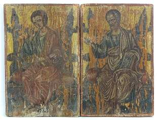 19th century, Mixed media on wood panel, Two Orthodox