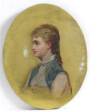 19th century, French School, Oil on panel, An oval
