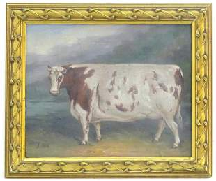 J Box, 20th century, Oil on canvas board, A prize bull