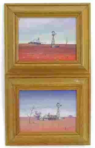 20th century, Oils on board, Two landscape scenes